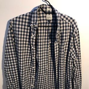 J. Crew Navy and white checkered button down